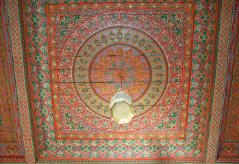 The ceiling of the Bahia Palace in Marrakech, Morocco