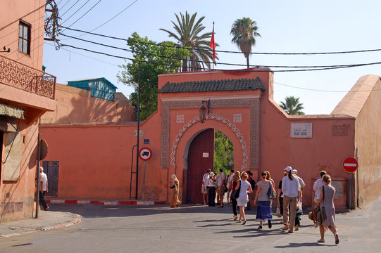 Morocco, the gates of the Bahia Palace in Marrakech