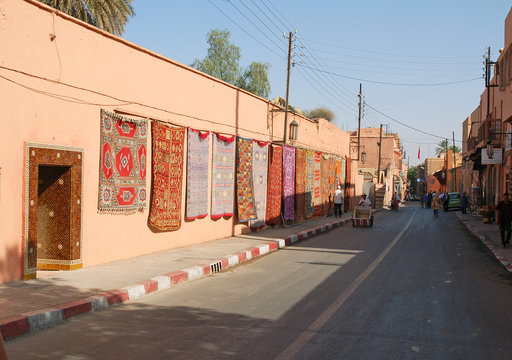 Morocco, selling carpets on the street in Marrakech