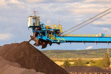 Giant wheel excavator in brown coal mine