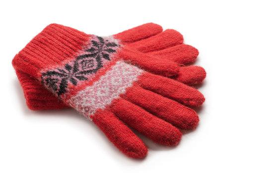 red winter gloves