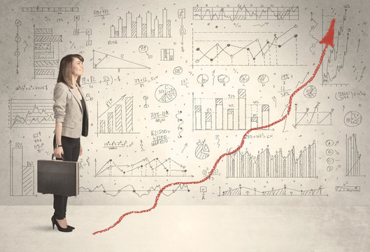 Business woman climbing on red graph arrow concept