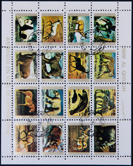 UMM AL QIWAIN - CIRCA 1973 Collection stamps printed in Umm al Qiwain shows animals dying out, circa 1973