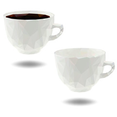 cup of coffee polygonal - Vector Illustration