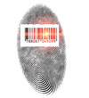 Fingerprint with barcide and laser ray