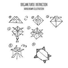 hand drawn illustration step by step of turtle origami