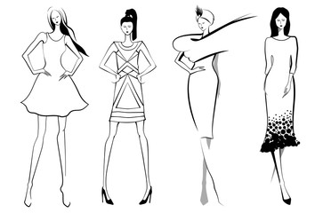 Fashion models.Sketch in black and white color. Set of vector women or girls.