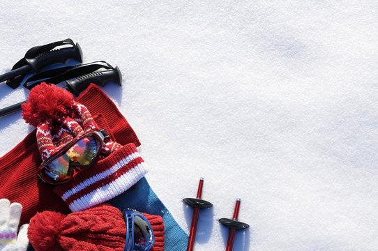 Ski equipment snow background, copy space