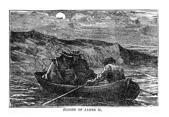 Vintage Woodcut Artwork James II Escape