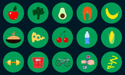 Diet and Healthy Lifestyle Icons with Food and Sports in Flat Design