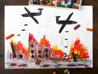 colorful drawing: bombing raid
