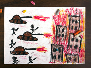 colorful drawing: tanks attack