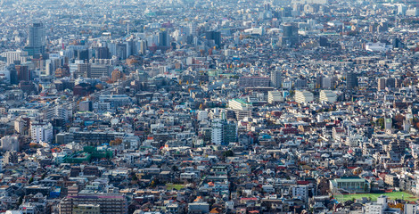 Panoramic aerial view of Tokyo residence area, Japan