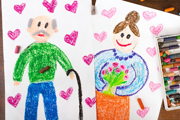 Colorful drawinsg: grandparents day cards