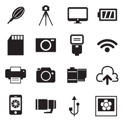 Camera Icons and Camera Accessories Icons vector illustration