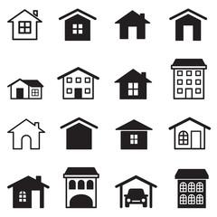 Home, condominium, Tower, Apartment  icons set