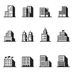 Building silhouette icons Vector illustration symbol set