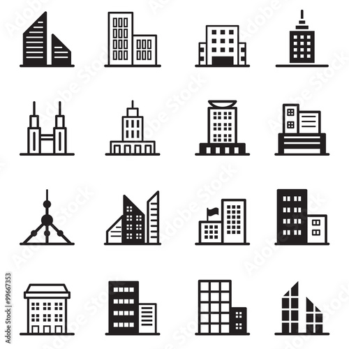 Building Tower Architectural Icons Vector Illustration Symbol