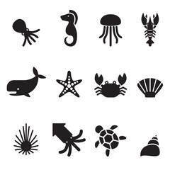 Sea animal icon set