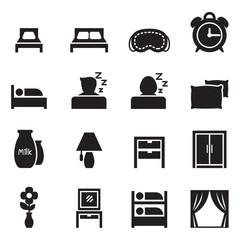 Bedroom  & Accessories icons set