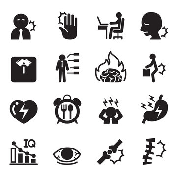 office syndrome icons set