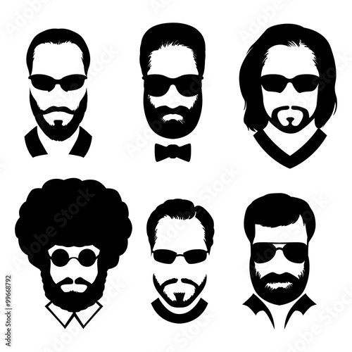 silhouettes of men with beard and glasses. stylish avatars men