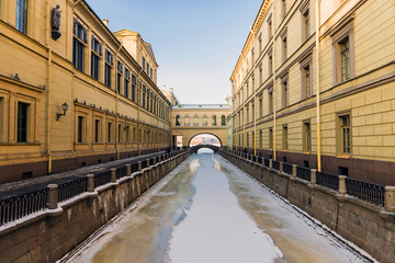 Winter Canal bridges at the State Hermitage Museum in St. Peters