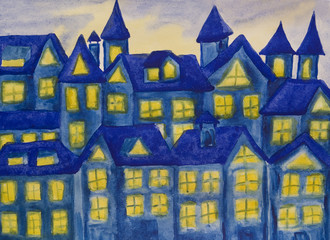 Dreamstown dark blue, watercolours