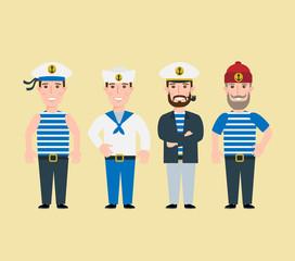 cartoon sailor characters set captain