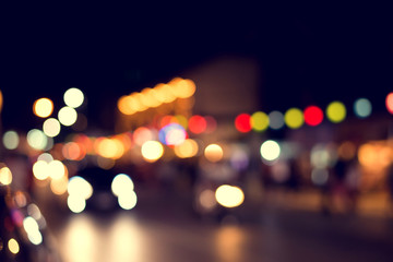 Blurred background of colorful light at Party night, vintage effect style