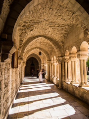 BETHLEHEM, ISRAEL - JULY 12, 2015: The gothic corridor of atrium