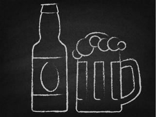 Beer mug and bottle on a chalkboard