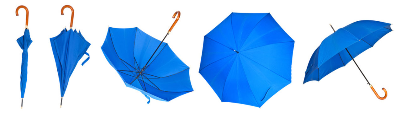 Set blue umbrella stick on a white background