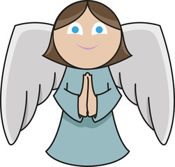 A cute little angel is praying with a smile in her face