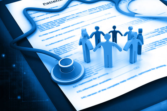 People with Medical and health insurance claim form and stethoscope.