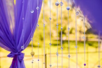 wedding ceremony decorated violet silk