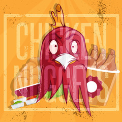 chicken time fast food vector illustration