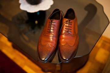 Brown leather man shoes of groom