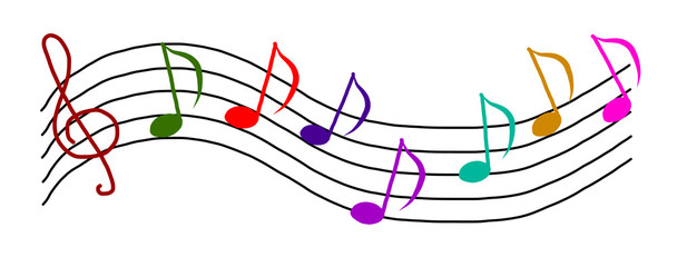 Set of notes with treble clef