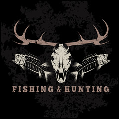 hunting and fishing vintage grunge emblem with skulls of animals