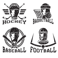grunge vintage sport vector labels set