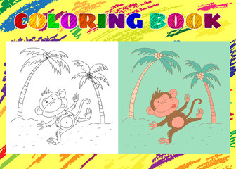 Coloring Book for Kids. Sketchy little pink monkey on a backgrou