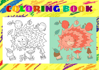 Coloring Book for Kids. Sketchy little pink hedgehog with apples
