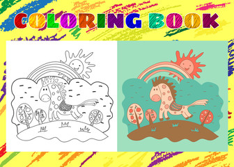 Coloring Book for Kids. Sketchy little pink spotted horse on the