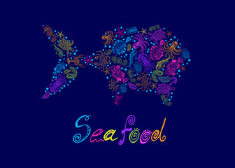 Vector set of a seafood in the form of fish with the inscription