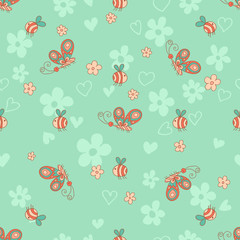 Stylish seamless texture with doodled cartoon  butterfly and bee in pink and blue colors in vector.