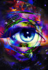 music note and woman eye, abstract color background, music concept.