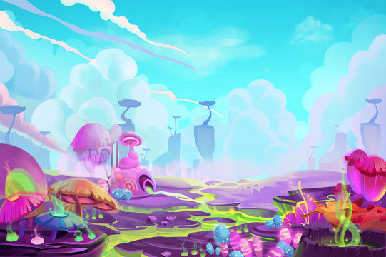 Illustration: A Mystery Wonderland. Realistic Fantastic Cartoon Style Artwork Scene, Wallpaper, Game Story Background, Card Design