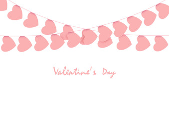 Pink hearts garlands on white