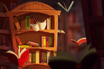 Illustration: The Book World. Realistic Fantastic Cartoon Style Artwork Scene, Wallpaper, Game Story Background, Card Design